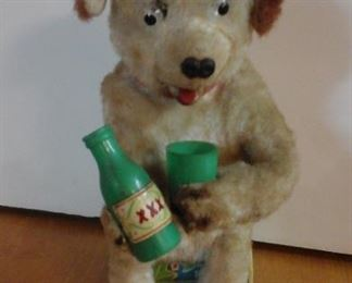 Vintage Yonezawa tin mechanical dog bartender