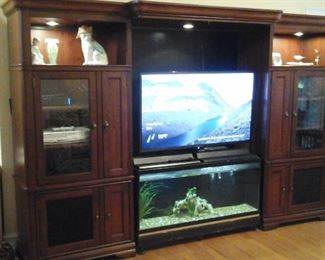 "Entertainment center, 50"" Sceptre TV and 55 gallon aquarium"