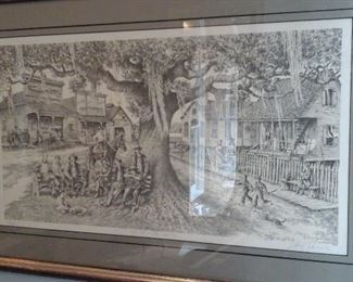 "Signed and numbered print by Floyd Sonnier, ""LA Ville Ste. Marie"" 113 of 350"