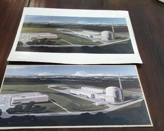 1960's Architectural drawing of  nuclear power plant