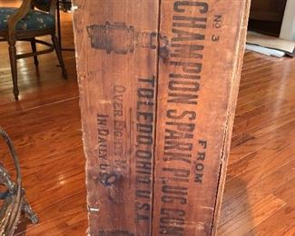 Old Champion Spark Plug Company wooden crate.       Please read our terms and conditions.     (Photo by BC)