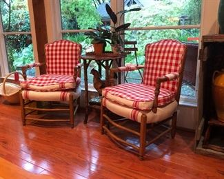Antique Austro Hungarian open arm chairs with custom French gingham and French linen upholstery.  They were brought over from Czechoslovakia soon after the Iron Curtain fell.   (Photos by BC)