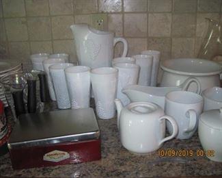 Milk glass pitcher and glasses grape pattern
