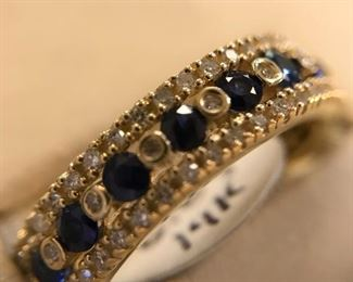 14k y/g genuine Sapphires and diamonds