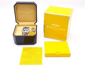 Men's Breitling Colt Chronograph Watch A73350 Black Face; Box, Manual