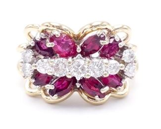 Radiant Natural Ruby and Diamond Estate Ring in 14k Yellow Gold