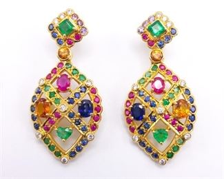 A True Treasure! Natural Rubies, Emeralds, Sapphires, Diamonds, and Citrine Estate Earrings in 22k Yellow Gold