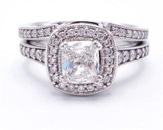 ~1.96 CT Cushion Diamond Ring in 14k White Gold