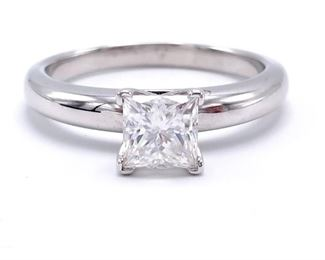 ~1.01 CT Princess Cut Tiffany Style Solitaire in 14k White Gold