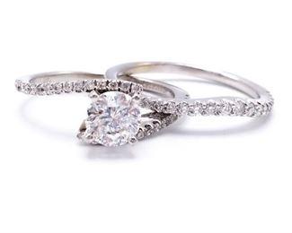 ~.85 CT Helzburg Radiant Star Diamond Estate Ring in 14k White Gold