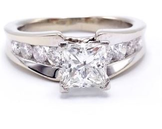 ~2.5 CT Designer Signed Princess Cut Diamond Estate Ring in Platinum and 18k White Gold - Certified