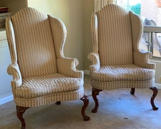 Statesville & Ross Queen Anne Wingback Chair #1148x32x32inHxWxD Statesville & Ross Queen Anne Wingback Chair #248x32x32inHxWxD