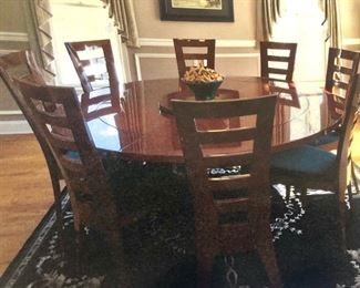 Excelsior made in Italy Rosewood & Stainless Steel Table with 8 chairs