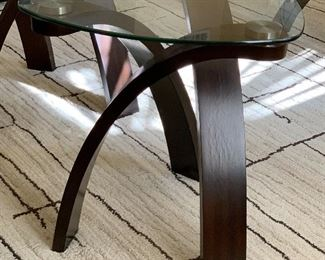 Contemporary Bentwood/Glass Triangular Accent Table #1	24x23x23in	HxWxD