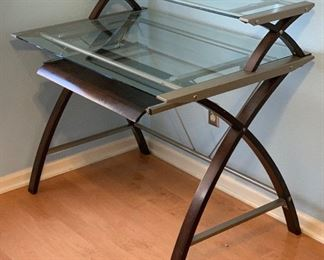 2-Tier Glass/Wood Contemporary Desk	37x42x28in	HxWxD