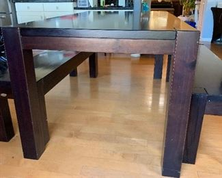 Artefama Kubo Dining Table w/ 2 Benches Espresso	Table:   30.5x63.5x35.5in D             Bench: 18x13.5x54in	HxWxD