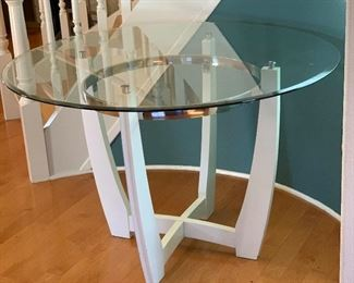 Contemporary Glass Top White Wood Table	30in H x 47.5in Diameter