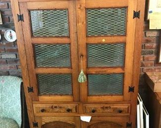 oak china cabinet, painted seafoam green interior
