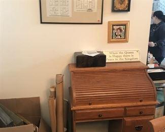 rolltop desk, Superdome specs (on wall, framed)