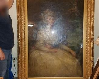 Large original oil painting of Marie Antoinette. We took it out of the frame and did not find a signature. It looks to have been done in the 1800's.