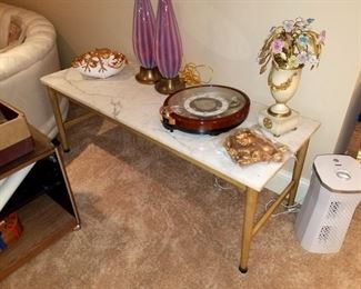 Wood coffee table with marble top