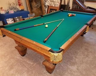 "Antique Brunswick-Balke-Collender 1886 style ""Manhattan"" pool table - available now for purchase! 9' Champion play table. (not regular 8') Finest Vermont slate. Made of quarter sawn oak and burned ash.  Adjustable carom plugs with iron fasteners. Very important feature for perfect balance and stability. Unique to a few select antique tables."