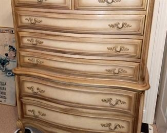 Italian provincial dresser and matching nightstands