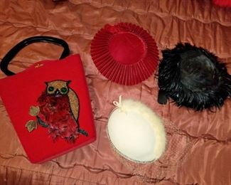 Vintage purse and hats