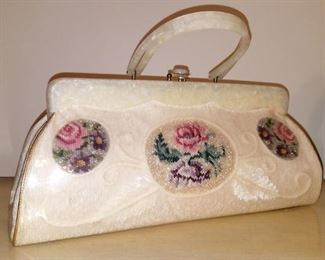Vintage lace/beaded/embroidered purse with lucite handles
