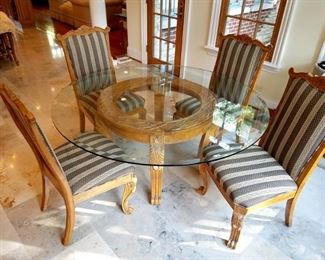 Gorgeous kitchen/dining room table. Carved wood