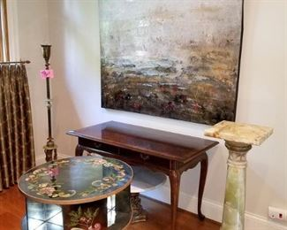 Original painting. Accent tables. Marble pedestal