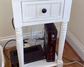 White painted French country nightstand