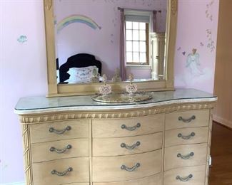 Broyhill  Queen/King bedroom set...Dresser with marble top, custom glass and mirror