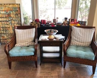Bahamas style set of occasional chairs with end table in rattan finish