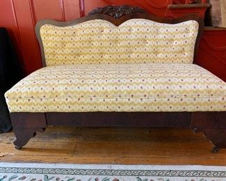 Mahogany upholstered carved back settee