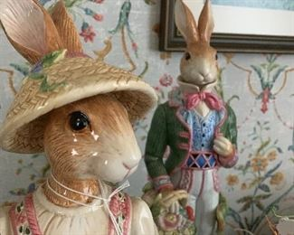 "Fitz & Floyd rabbit figurines (18""H)"