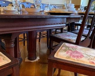 Mahogany dining table with EIGHT leaves, plus 12 mahogany side chairs