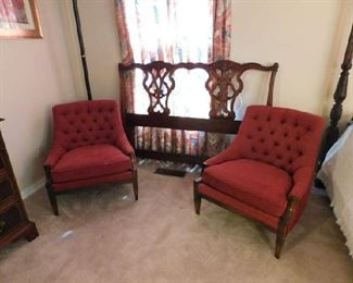 Queen Headboard, Pair Side Chairs