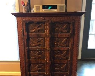 """Cabinet measures 32 1/2 wide x 16"""" deep x 44"""" tall."""