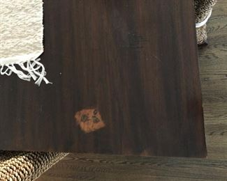 """Table measures 39 1/4"""" across and 94 3/4"""" long. No leaves. Sold as a set with 8 chairs."""