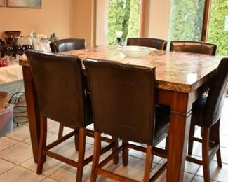 BAR HEIGHT KITCHEN TABLE W/6 CHAIRS