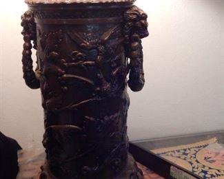 Metal works ornate table lamp.