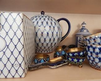 Russian tea set with lots of other Russian accents.