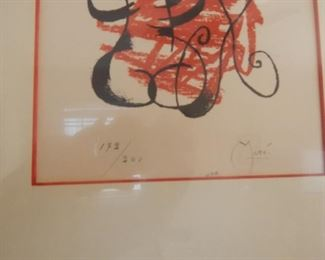 Joan Miro litho hand signed and #.