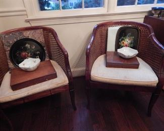 Cane back arm chairs with bamboo style.
