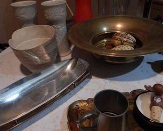 Mid century serving bowls/trays. Arabia pair of vases, brass bowl, mid century enamel ware carafe and much more.