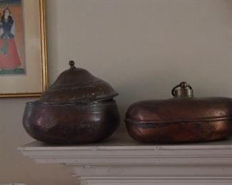 Old copper water bottles...antiques!