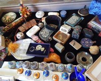 Collectibles...salt and peppers, jewelry, metals, lacquer boxes, memorabilia.