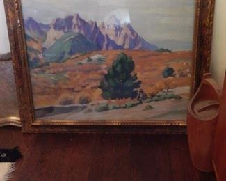 Old French painting. Has been protected with glass cover.