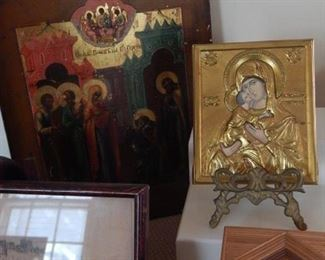 Russian art and plaques.
